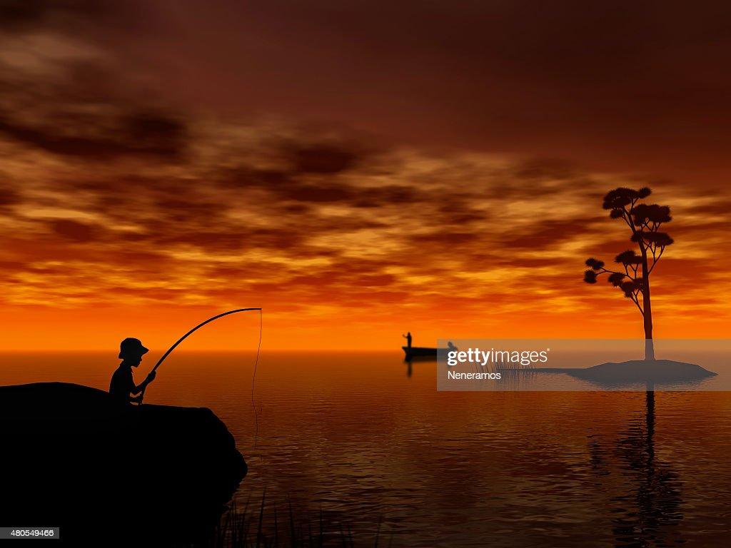 Boy fishing : Stock Photo