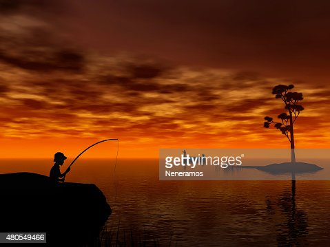 Boy fishing : Stock Photo