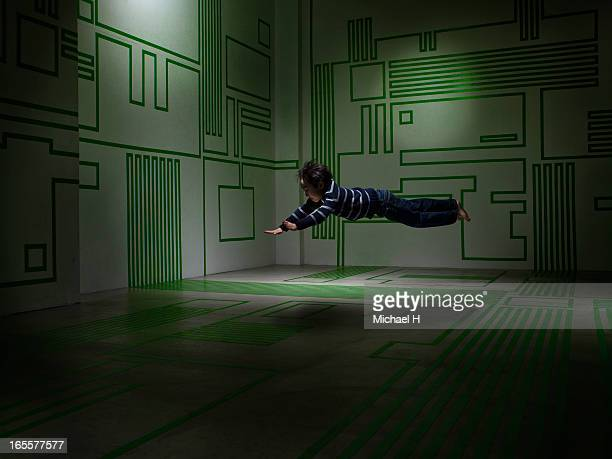 Boy froating  in the Circuit Board room