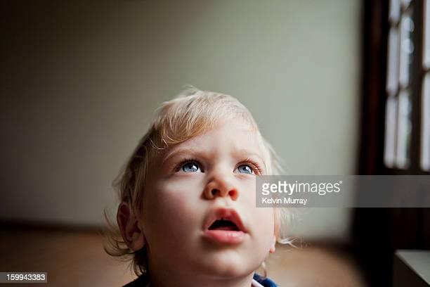 Boy gazes up by window
