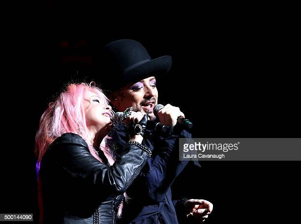 Boy George and Cyndi Lauper perform at the 5th Annual 'Cyndi Lauper And Friends Home For The Holidays' benefit concert at The Beacon Theatre on...