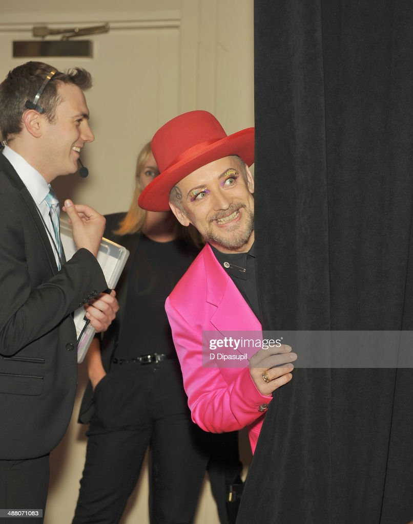 <a gi-track='captionPersonalityLinkClicked' href=/galleries/search?phrase=Boy+George&family=editorial&specificpeople=203135 ng-click='$event.stopPropagation()'>Boy George</a> attends the 25th Annual GLAAD Media Awards In New York on May 3, 2014 in New York City.