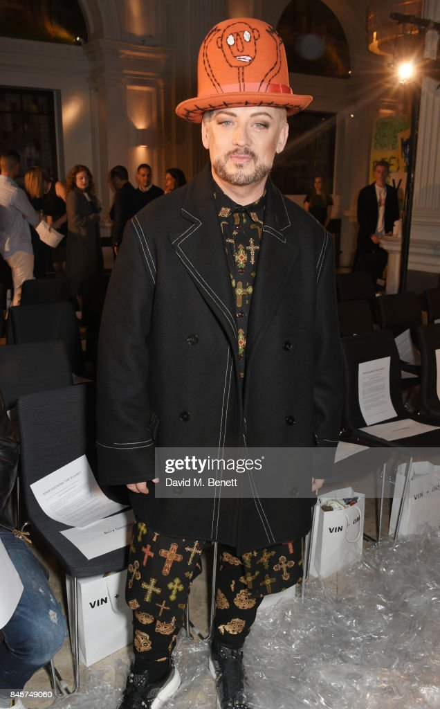 Boy George attends the Vin + Omi Spring/ Summer 2018 show ahead of London Fashion Week September 2017 at Andaz London on September 11, 2017 in London, England.