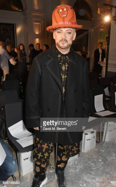 Boy George attends the Vin Omi Spring/ Summer 2018 show ahead of London Fashion Week September 2017 at Andaz London on September 11 2017 in London...