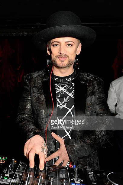 Boy George DJ's at the Al Films and Warner Music After party of Kill Your Friends at The Box Soho on October 27 2015 in London England