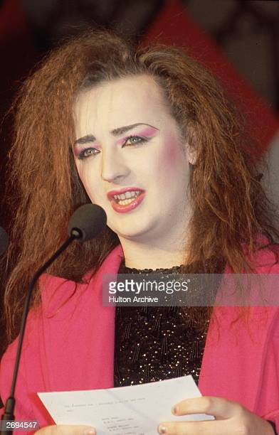Boy George making an announcement at the Sony Radio Awards held in the Hilton Hotel London