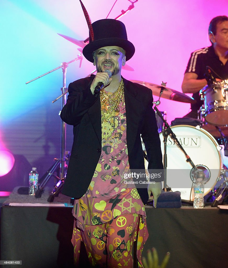 Boy George of Culture Club performs at Bayfront Park Amphitheater on August 14 2015 in Miami Florida