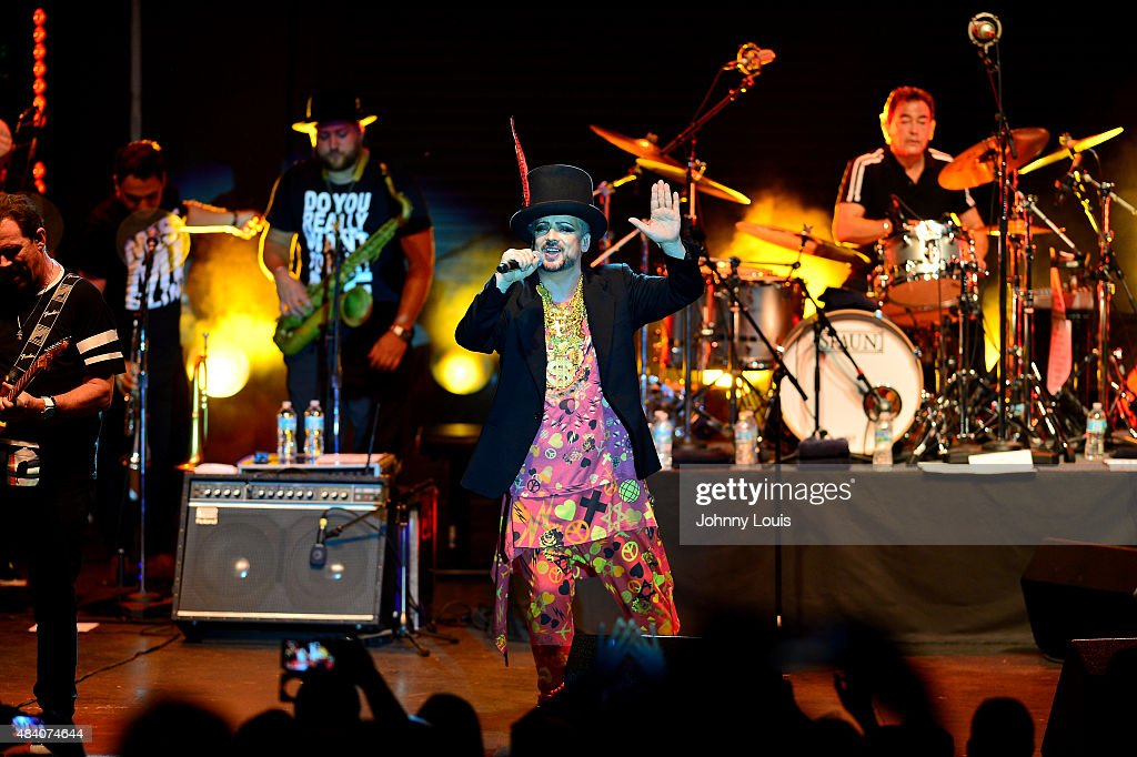 Boy George of Culture Club performs at Bayfront Park Amphitheatre on August 14 2015 in Miami Florida