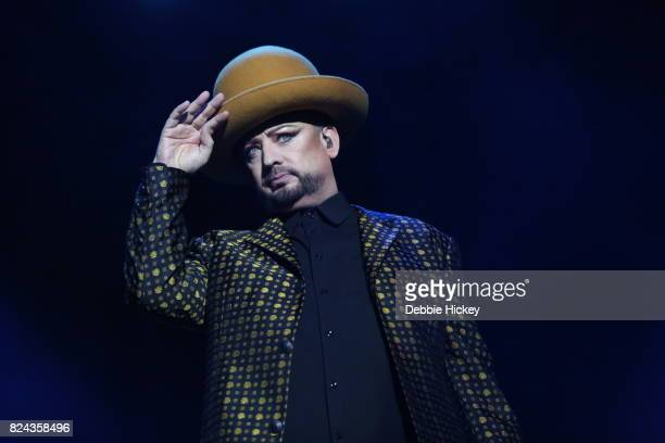 Boy George of Culture Club performs live on stage during Punchestown Music Festival at Punchestown Racecourse on July 29 2017 in Naas Ireland