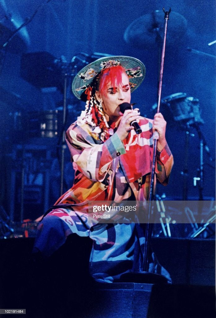 <a gi-track='captionPersonalityLinkClicked' href=/galleries/search?phrase=Boy+George&family=editorial&specificpeople=203135 ng-click='$event.stopPropagation()'>Boy George</a> of Culture Club performs on stage at Wembley Arena on December 17th, 1984 in London, England.