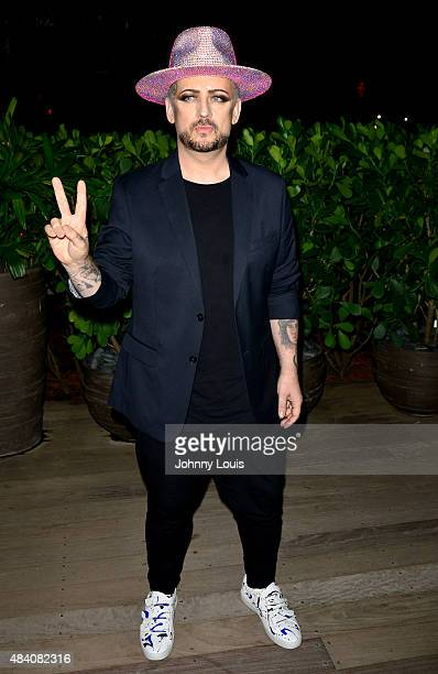 Boy George of the Culture Club arrives for a DJ set at Wall at W Hotel on August 14 2015 in Miami Beach Florida