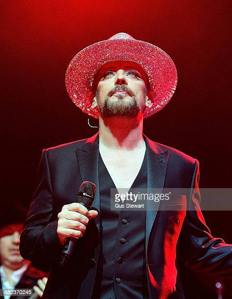 Boy George performs on stage at Indigo2 at O2 Arena on April 3 2014 in London England
