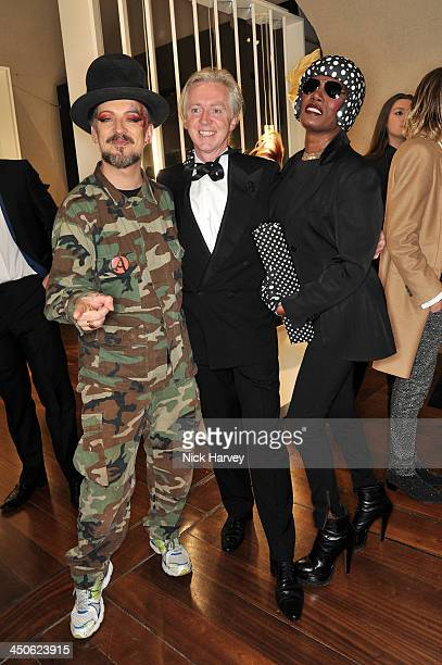 Boy George Philip Treacy and Grace Jones attend the private view of Isabella Blow Fashion Galore Party at Somerset House on November 19 2013 in...