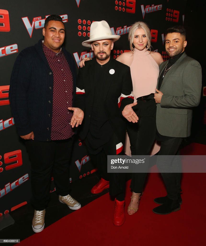 Boy George poses alongside his team comprising Hoseah Partsch, Sarah Stone and Robin Johnson during the Voice Live Show Launch 2017 on May 31, 2017 in Sydney, Australia.