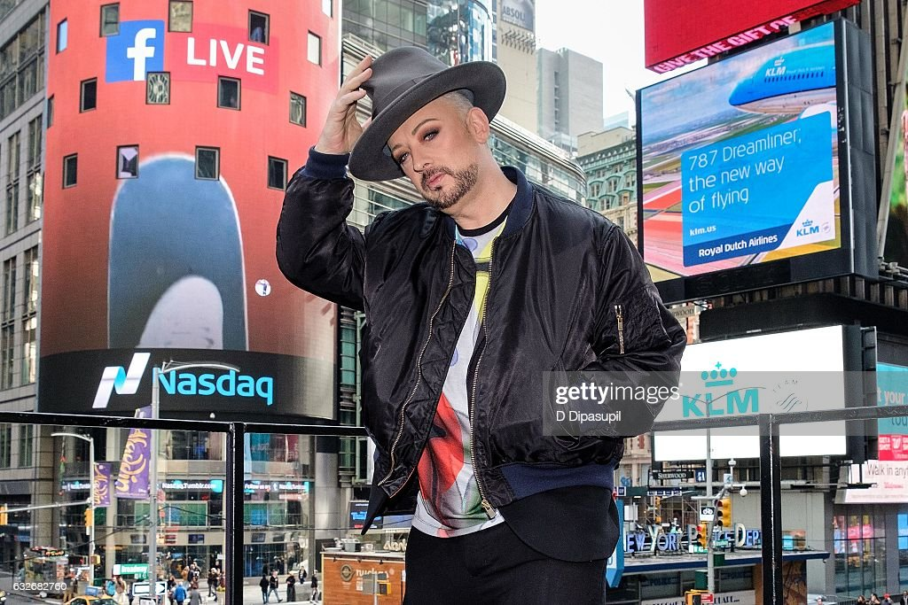 Boy George visits 'Extra' at their New York studios at the Hard Rock Cafe in Times Square on January 25, 2017 in New York City.