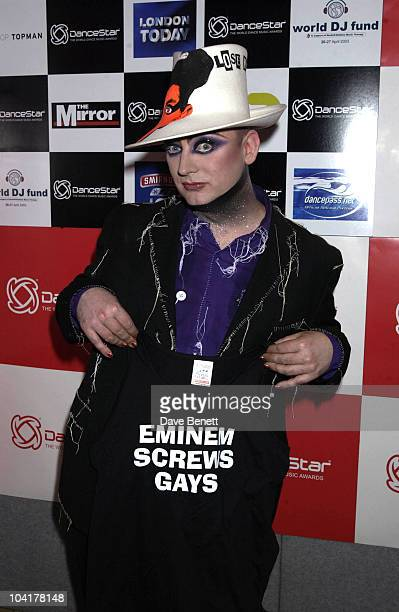 Boy George With His Protest T Shirt About Eminem The Dancestar Awards 2002 At The Alexandra Palace London