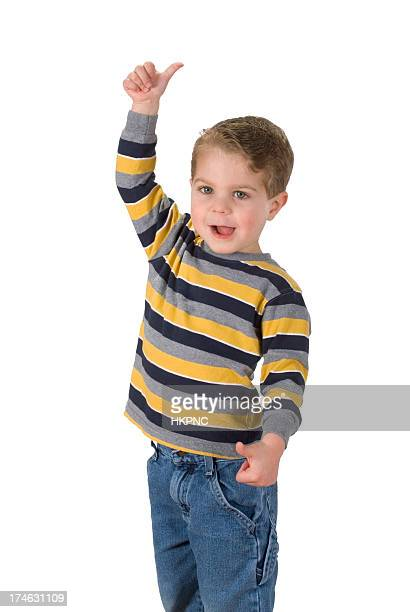 Boy Gives Thumps Up, High & Low.  Isolated & Clipping Path.