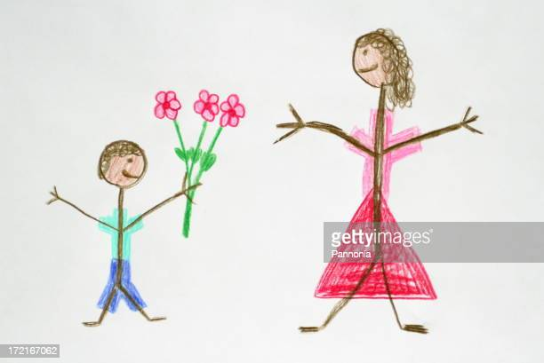 Boy Giving Flower to his Mother