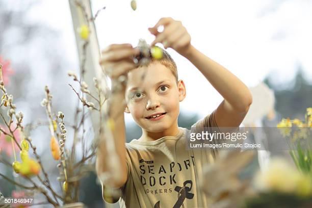 Boy Hanging Easter Decoration, Osijek, Croatia, Europe