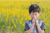 Little Asian boy has allergies from flower pollen in field