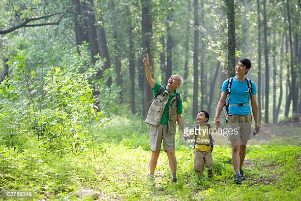 Boy hiking with his father and grandfather
