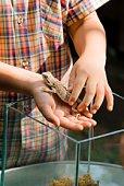Boy holding a pet lizard