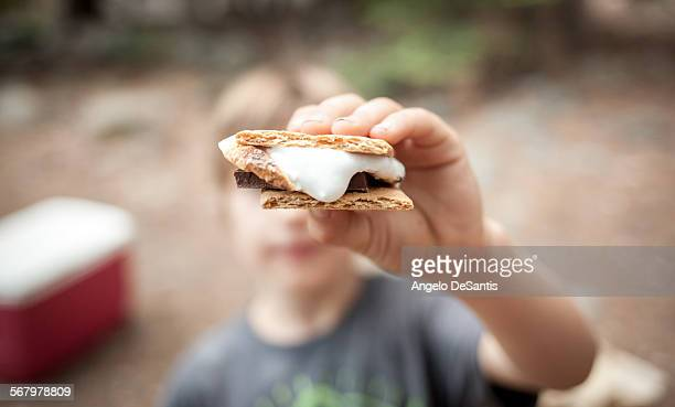 Boy holding a s'more