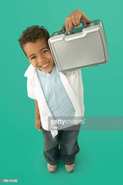 Boy Holding Lunchbox
