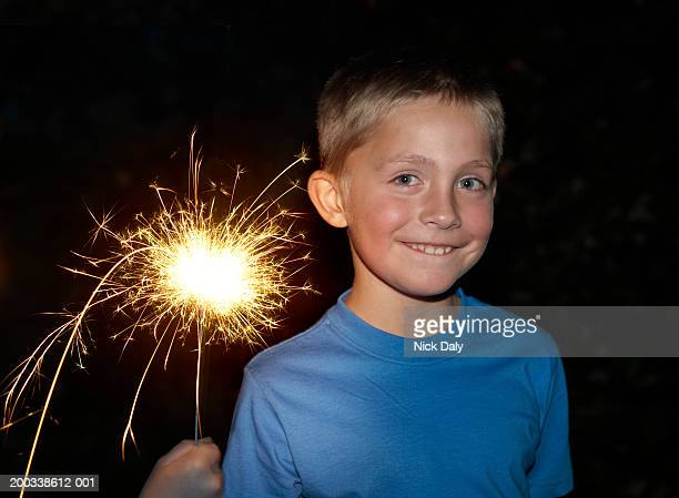Boy (7-9) holding sparkler, smiling, portrait, night