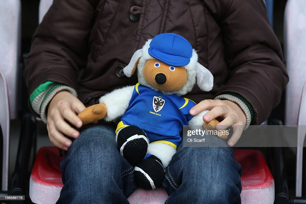 A boy holds a soft toy of AFC Wimbledon's Womble mascot 'Haydon' before the npower League Two match between AFC Wimbledon and Aldershot Town at the Cherry Red Records Stadium on November 17, 2012 in Kingston upon Thames, England. on December 1, 2012 League Two AFC Wimbledon, the football club formed in 2002 by supporters unhappy with their club's relocation to Milton Keynes, will play an FA Cup tie against League One Milton Keynes Dons, which Wimbledon F.C. controversially became.