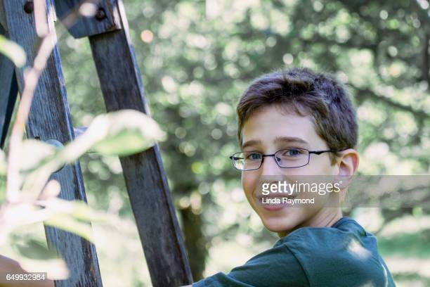 A boy in a orchard