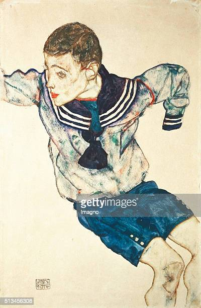 Boy in a sailor suit 1914 Gouache/watercolor/chalk/pencil 478 x 312cm Gouache by Egon Schiele By Egon Schiele