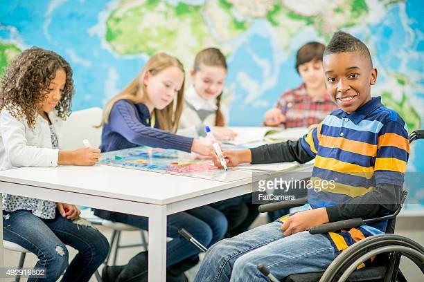 Boy in a Wheel Chair in Elementary School