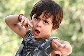 Boy in action, portrait, close-up