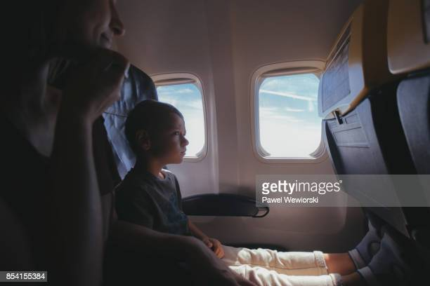 Boy in airplane