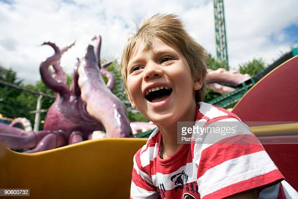 A boy in an amusement park Denmark.
