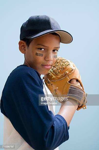 Boy in baseball clothing