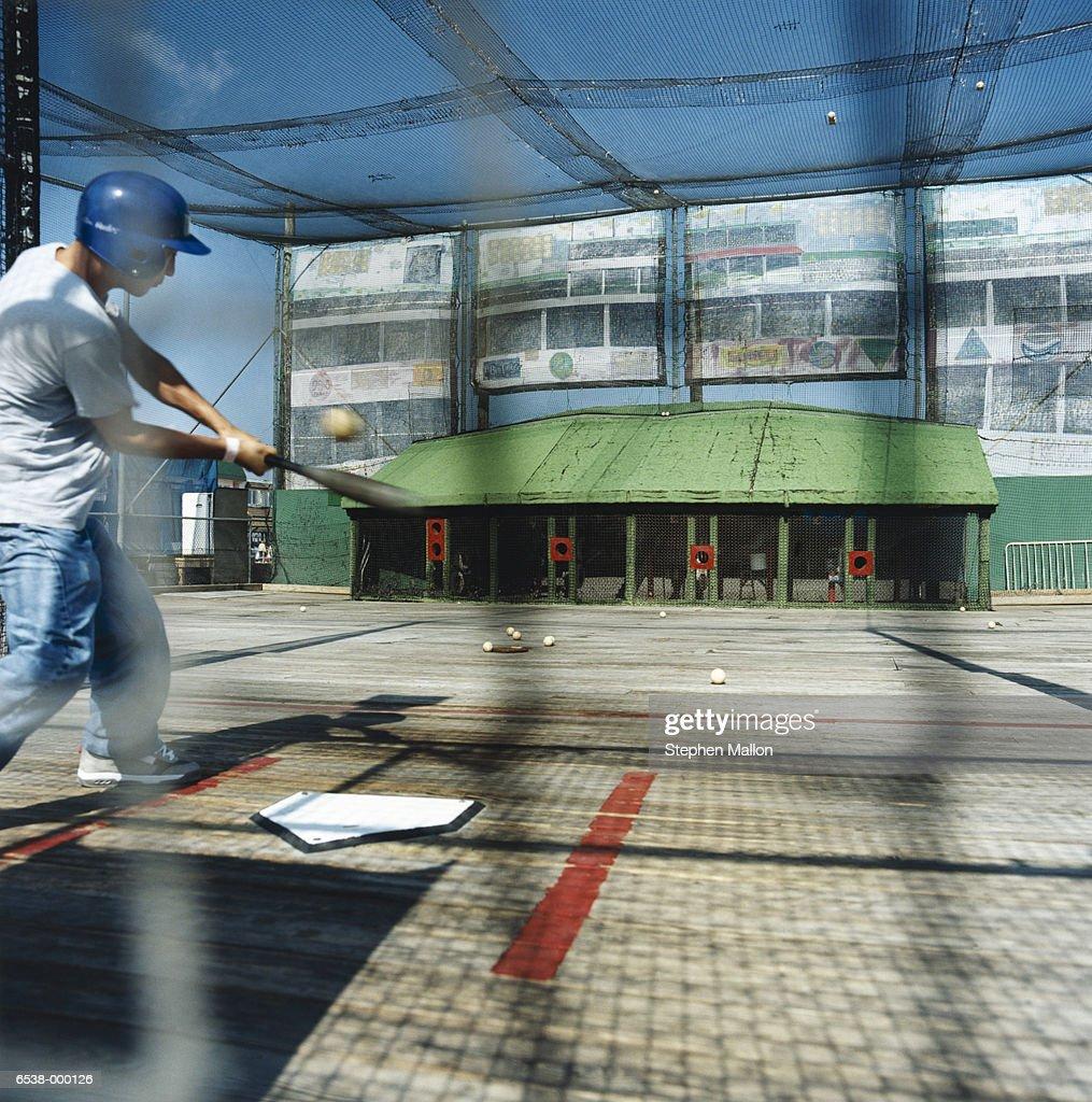 Boy in Batting Cage