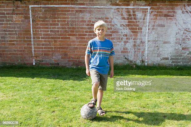 Boy in front of goal