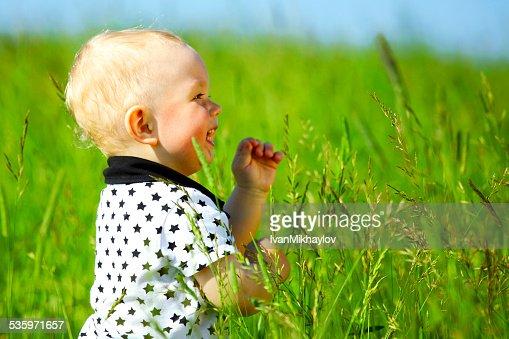 boy in grass : Stock Photo