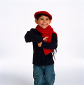 Boy in hat and scarf