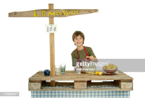 Boy in his lemonade Stand : Stock Photo