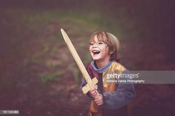 Boy in knight costume