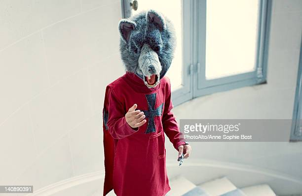 Boy in knight's costume and bear mask