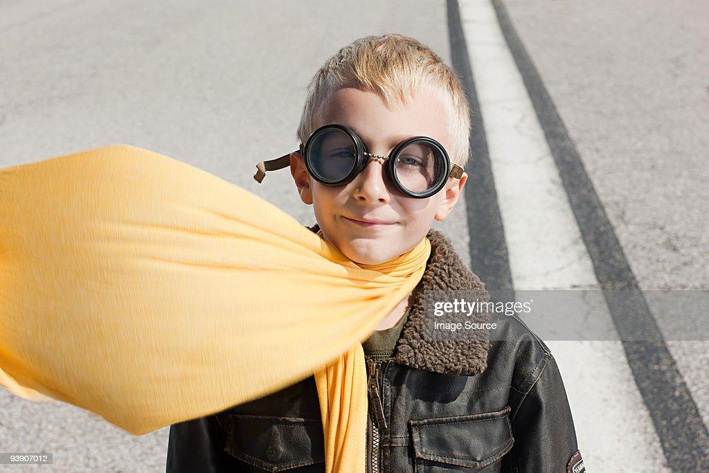 Boy in pilot costume