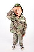 Boy in soldier costume