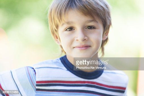 Boy in striped shirt, portrait