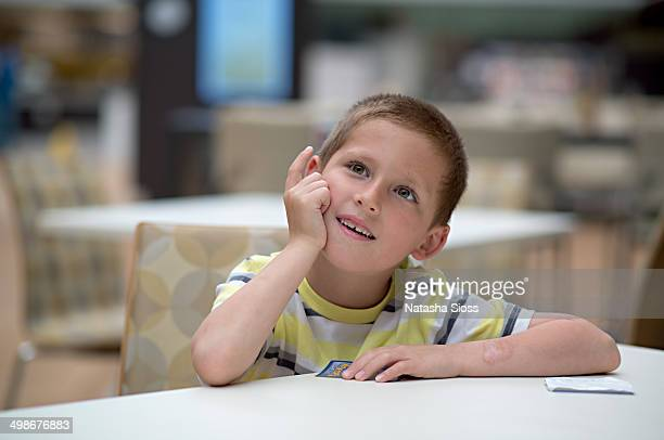 Boy in the cafeteria
