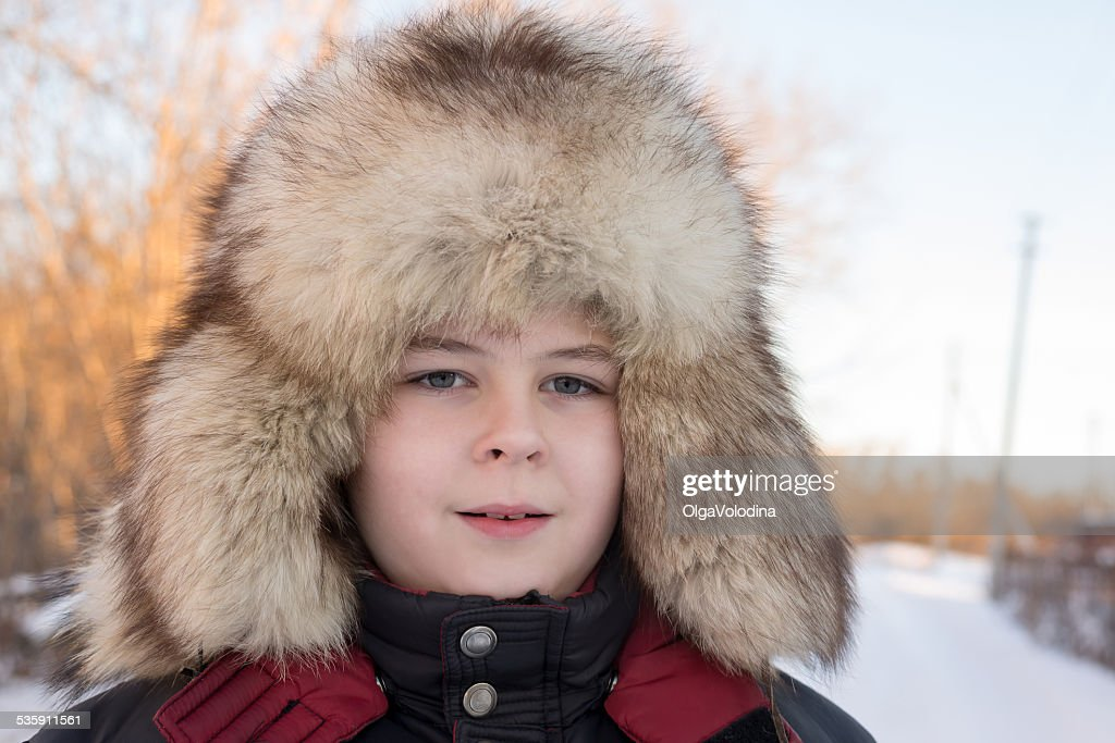 Boy in the winter hat : Stock Photo