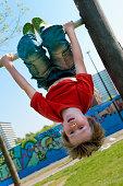 Boy in urban playground